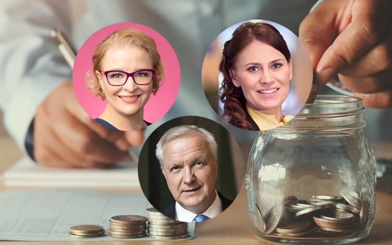 Finanssialan Piia-Noora Kauppi, Pörssisäätiön Sari Lounasmeri ja Suomen Pankin Olli Rehn