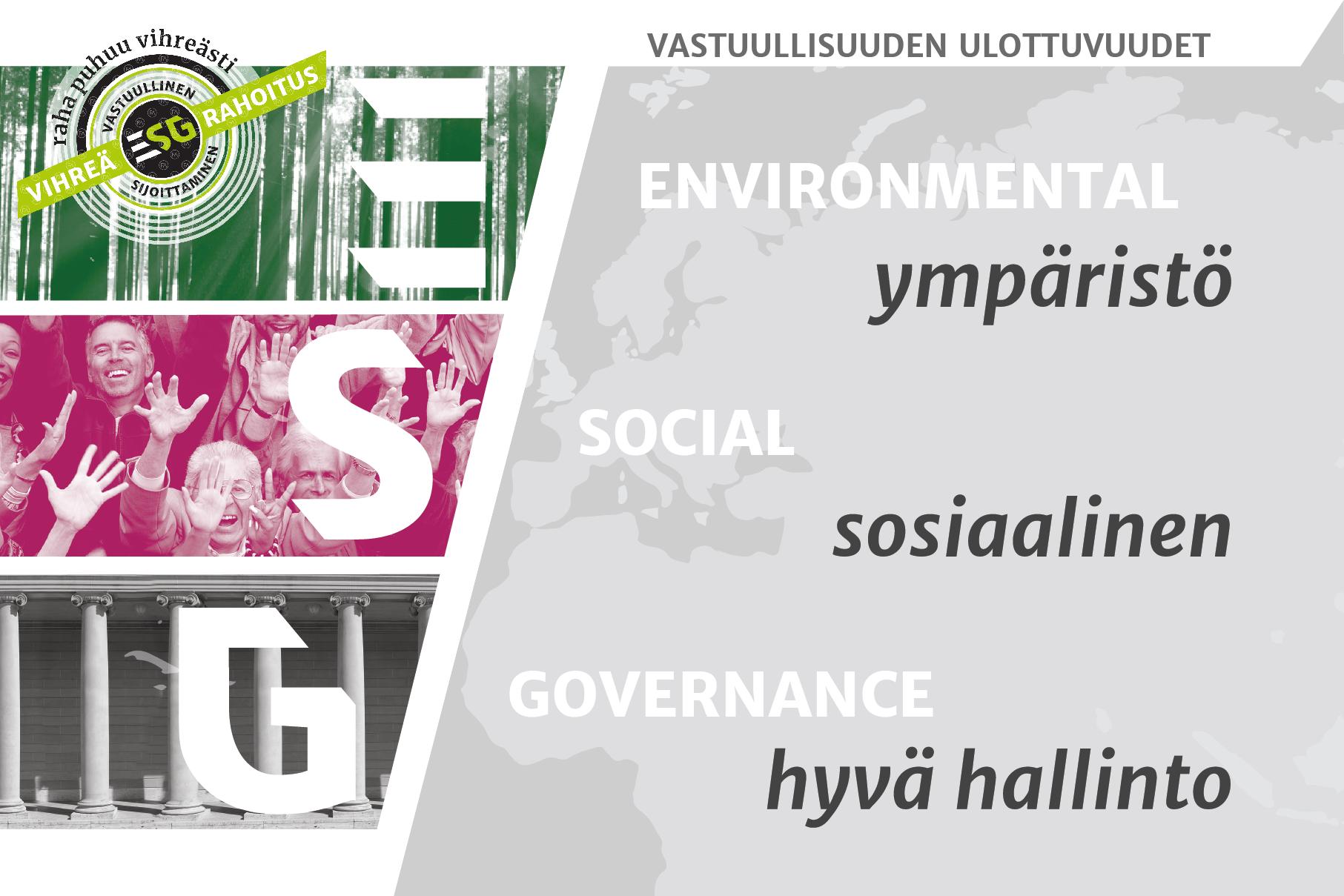 ESG-rekisteristäselviäisi, miten hyvin yritykset ovat ottaneet huomioon ympäristö- ja yhteiskuntavastuun sekä hyvän hallintotavan.