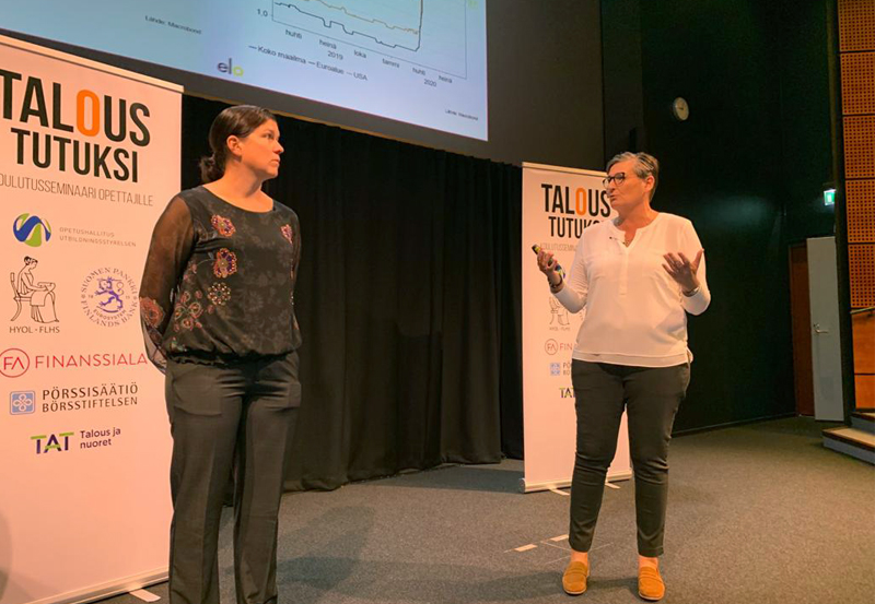 Webinaarissa talousnäkymiä valottivat pääekonomistitHenna Mikkonen Säästöpankista (vas) jaTiina Helenius työeläkeyhtiö Elosta.
