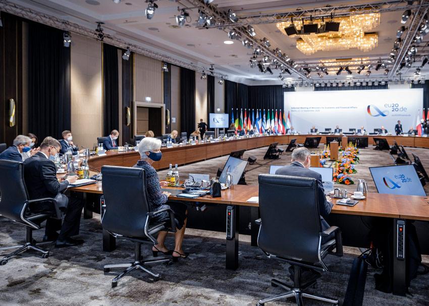 Syyskuun2020 Ecofin järjestettiin Berliinissä. Nyt järjestettävä tapaaminenon kokonaan etäkokous. Kuva: Euroopan komissio